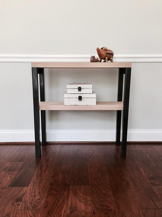The CARAWAY Console Table - Reclaimed White Oak & Steel Console Table by arcandtimber