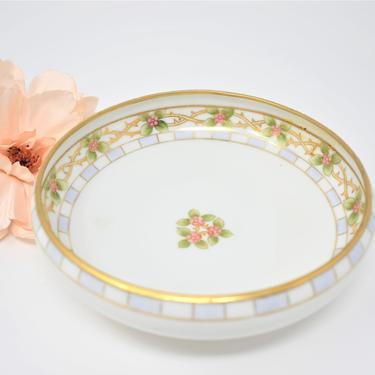 Antique Porcelain Bowl by RC Royal Crockery Nippon Japan 1911-1920 | Gilded Gold Rim White Pink Floral Dish | Small Decorative Trinket Bowl by LostandFoundHandwrks