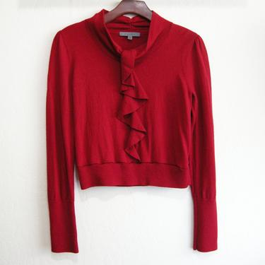 Red Wool Front Ruffle Crop Sweater