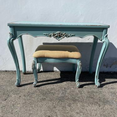 2pc Antique Desk French Provincial Queen Anne Writing Table Bench Regency Vanity Shabby Chic Makeup Table Laptop Stand CUSTOM PAINT AVAIL by DejaVuDecors