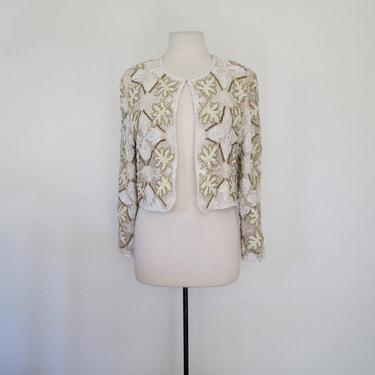 1980s white and mint green iridescent beaded jacket by flutterandecho