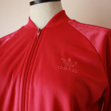 80s 90s Adidas Track Jacket Hot Pink Made in USA Size M by NoSurrenderVintage