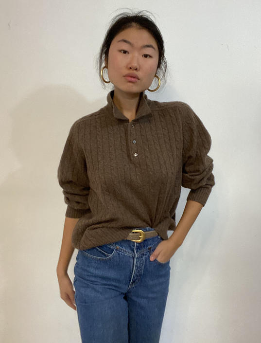 90s cashmere collared sweater / vintage cocoa brown collared polo cable knit oversized boyfriend cashmere sweater | L by RecapVintageStudio