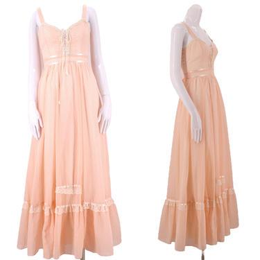 70s GUNNE SAX pink lace up cotton prairie dress 5 / vintage 1970s peasant Swiss dot print ruffle dress gown by ritualvintage
