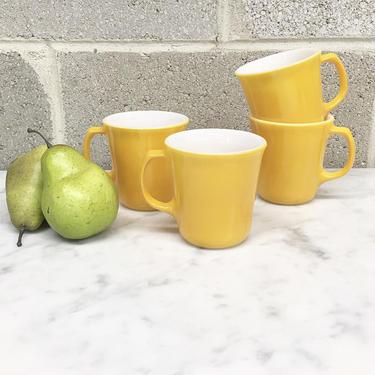 Vintage Mug Set Retro 1970s Corelle by Corning Ware + Yellow + Milk Glass + Set of 4 Matching + Servingware + Home and Kitchen Decor by RetrospectVintage215