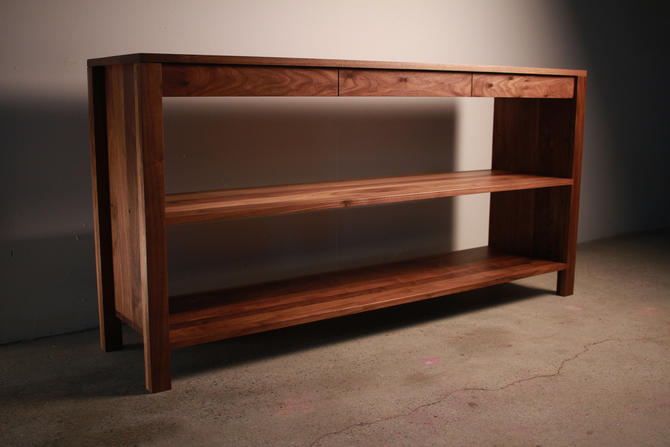 Ghooray Bookcase, Modern Bookcase with Drawers, 3-Drawer Wood Bookshelf, Solid Wood Bookcase (Shown in Walnut) by TomfooleryWood
