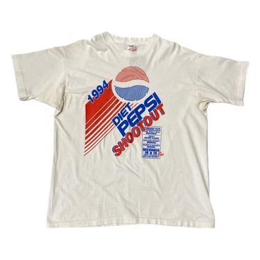 (XL) 1994 Diet Pepsi Shootout Tournament White Single Stitch Tshirt 082521 ERF
