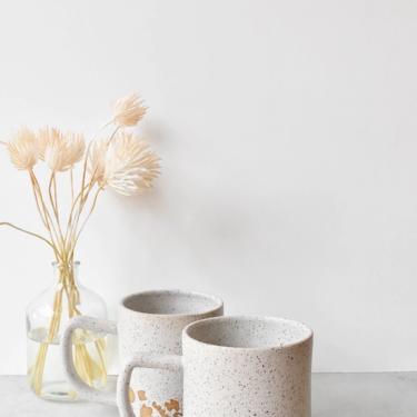 Bottom Eclectic Maximalist Speckled Stoneware Ceramic Handmade Mug in White by KatieMMudd