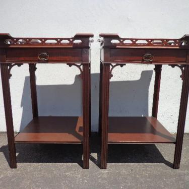 Pair of Antique Tables Fretwork Mahogany Wood Nightstands Bedside Table Chinoiserie Victorian Asian Hollywood Regency CUSTOM PAINT AVAIL by DejaVuDecors