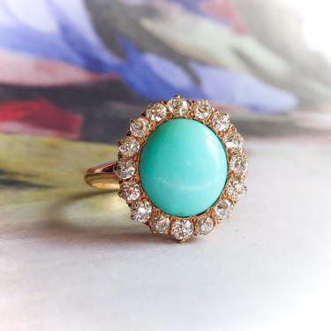 Antique Turquoise Diamond Ring Victorian Old European Diamond Halo Ring 14K Yellow Gold by YourJewelryFinder