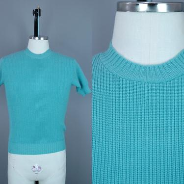 1940s Short Sleeve Aqua Blue Sweater | Vintage 40s 'Jack Frost' Wool Pullover | small by RelicVintageSF