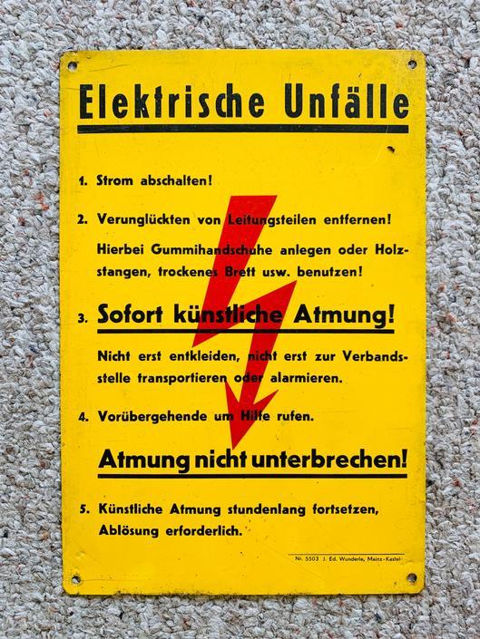 Vintage Electricity Porcelain Metal Danger Sign Warning Original German by dadacat