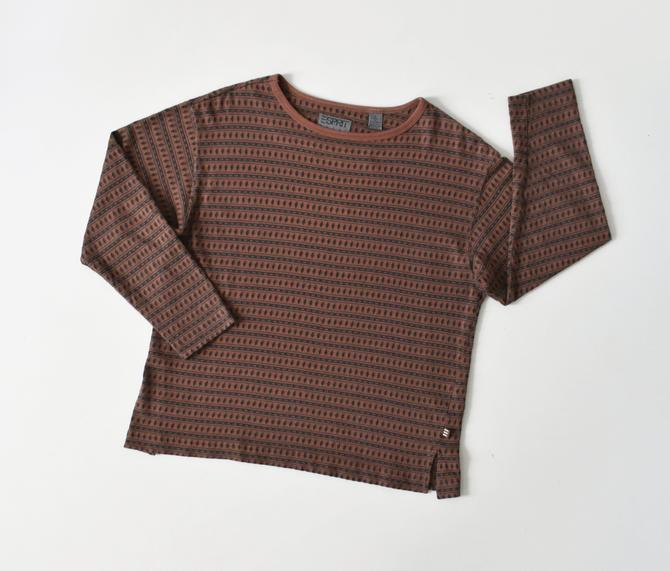 vintage ESPRIT striped cotton top, long sleeve t-shirt, size M by ImprovGoods