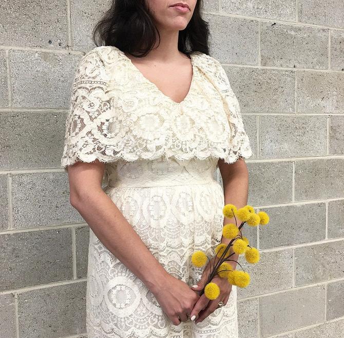 Vintage Dress Retro 1970s Morton Myles + For The Warrens + Size 14 + Off White + Cream + Lace + Cape Collar + Midi Length + Womens Apparel by RetrospectVintage215