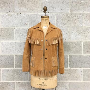 Vintage Fringe Suede Jacket 1970s Joo-Kay + Genuine Leather + Western Wear + Size 16 + Tan + Cognac + Snap Front + Unisex Apparel by RetrospectVintage215