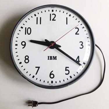 IBM Industrial Wall Clock Classic Americana pop irony art paul rand USA Schoolhouse by CaribeCasualShop