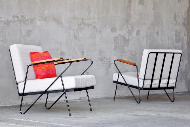 Iron Modernist Lounge Chairs by FandFVintage