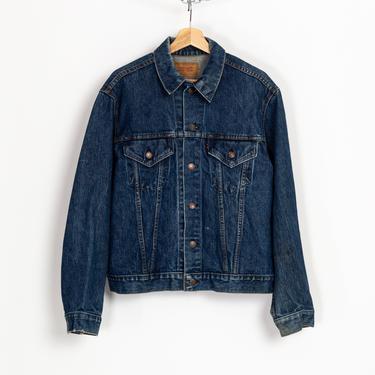 70s Levi's Two Pocket Jean Jacket - Men's Medium, 44 | Vintage Distressed Dark Wash Denim Trucker Jacket by FlyingAppleVintage