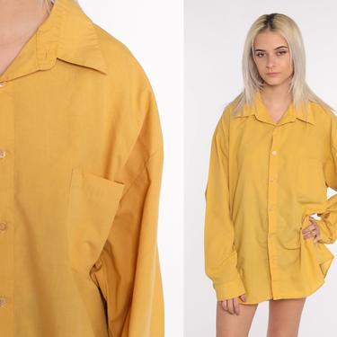 Mustard Button Up Shirt Men's 70s Shirt Collar Hippie Boho 1970s Shirt Yellow Disco Top Vintage Collared Plain Long Sleeve 2xl xxl by ShopExile