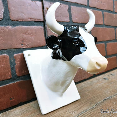Ceramic Bull/Cow Kitchen Towel Holder by RedsRustyRelics