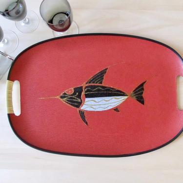 marlin swordfish tray - mid century fiberglass serving tray - nautical decor by ionesAttic
