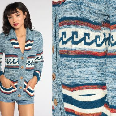 70s Cardigan Striped Space Dye Sweater Blue Boho Sweater Hippie Sweater 1970s Button Up dyed Seventies Acrylic Knit Retro Vtg Small Medium by ShopExile