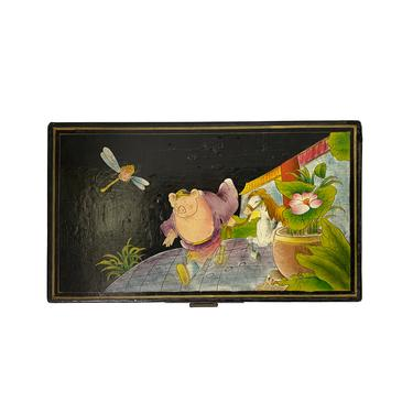 Rectangular Black Lacquer Box w Chinese Mythical Pig Deity Play Graphic ws1552E by GoldenLotusAntiques