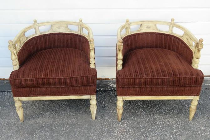 Hollywood Regency Burl Shape Pair of Side Chairs 1755