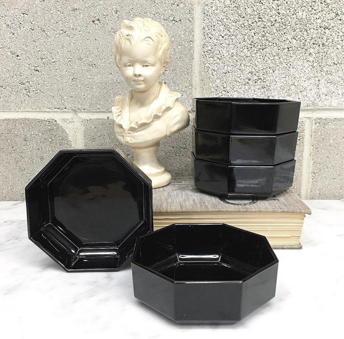 Vintage Bowl Set Retro 1980s Arcoroc + Contemporary + Black + Glass + Octagon + Set of 5 Matching + Made in France + Kitchen and Home Decor by RetrospectVintage215
