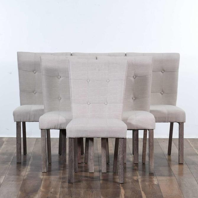 Set 6 Contemporary Ivory Tufted Back Dining Chairs