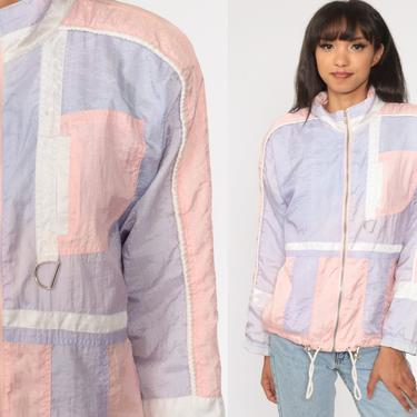 Pastel Jacket 80s Windbreaker Color Block windbreaker Baby Pink Lavender Purple Jacket Striped Jacket Vintage 1980s Medium by ShopExile