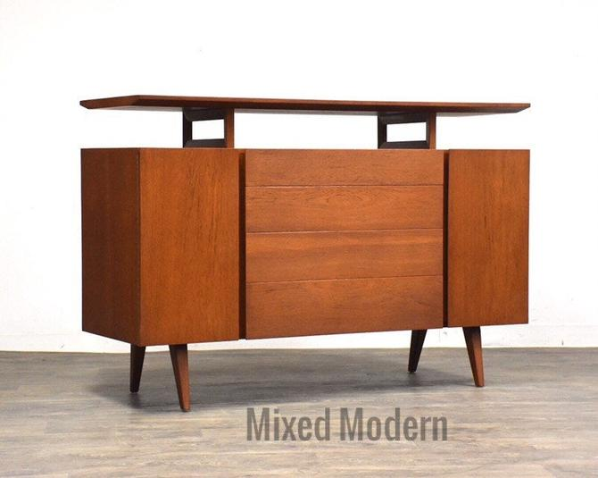 Danish Modern Teak Floating TV Console Credenza by mixedmodern1