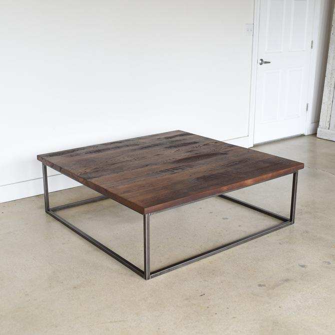 Square Coffee Table / Large Reclaimed Wood + Steel Box Frame Coffee Table by wwmake