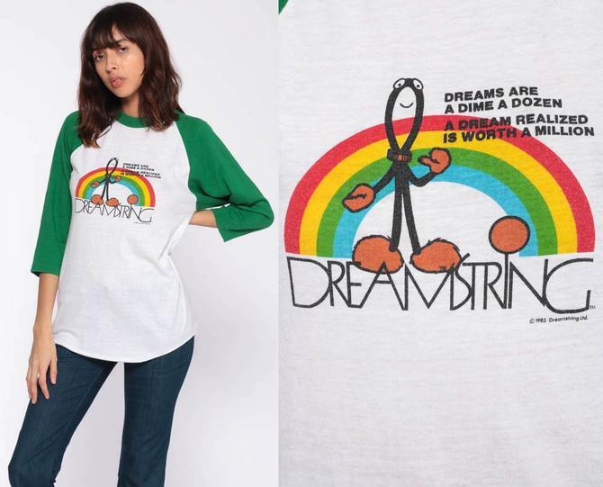 Rainbow Dreamer Shirt 80s Dreamstring Retro TShirt Graphic Shirt Vintage T  Shirt 70s Tee Slogan Long Sleeve Raglan Tee Small by ShopExile