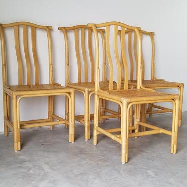 Vintage Chinese Style Coastal Bamboo Dining Chairs With Removable Cushions - Set of 4 by MIAMIVINTAGEDECOR