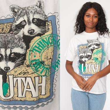 Utah Shirt Vintage Raccoon Shirt Single Stitch Tshirt 90s TShirt Travel Tee Graphic Print State 1990s Small Medium by ShopExile