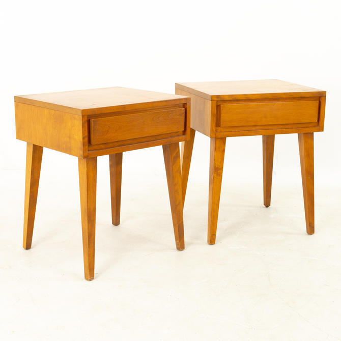 Russel Wright for Conant Ball Mid Century Blonde Nightstands - Pair by ModernHill