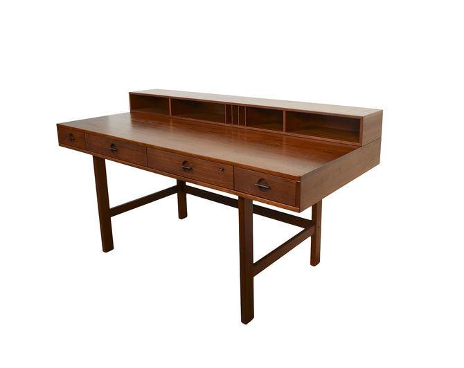Lovig Teak Desk Flip Top Desk Dansk Danish Modern by HearthsideHome