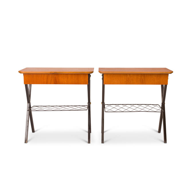 Vintage Danish Mid-Century Teak and Wire Nightstands (Pair) by MCMSanFrancisco