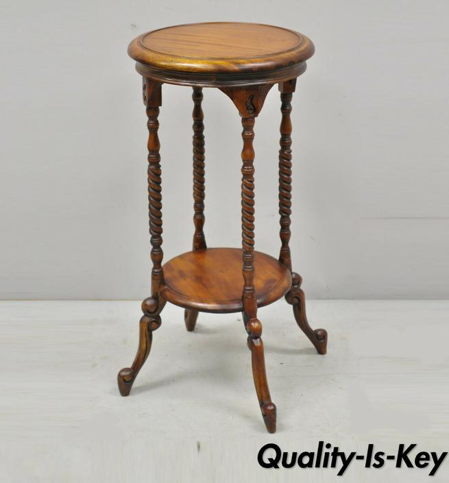 Mahogany Wood 2 Tier Victorian Style Reproduction Round Plant Stand Side Table