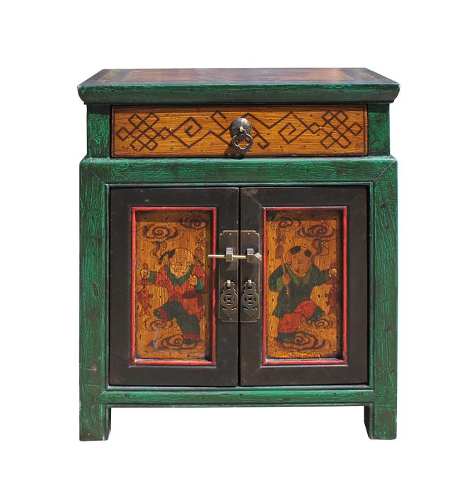 Oriental Distressed Green Yellow Kids Graphic End Table Nightstand cs5772S