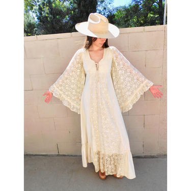 Gunne Sax Angel Dress // vintage 70s boho hippie wedding 1970s cotton hippy white country empire waist high prairie corset lace maxi // XS by FenixVintage