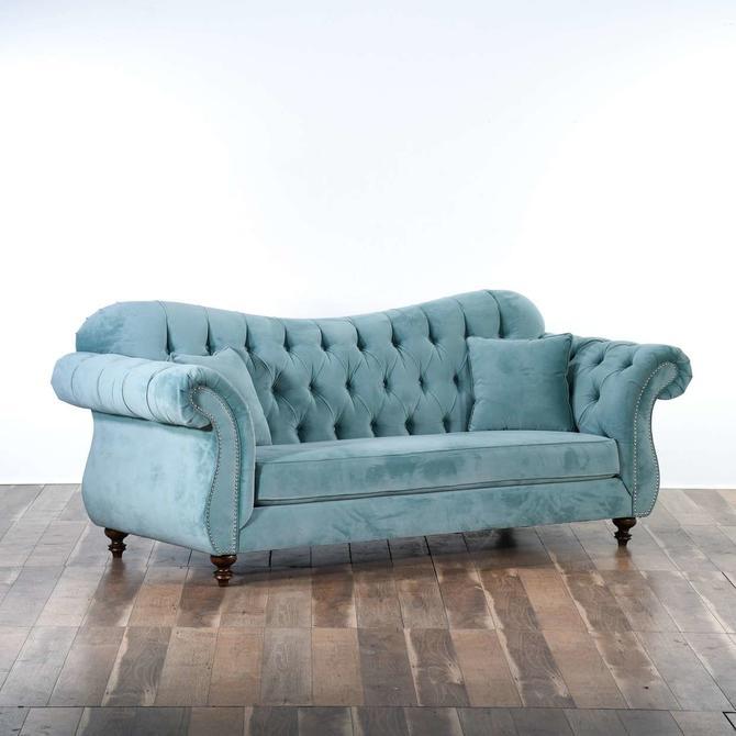 Bella Caribbean Teal Blue Custom Made Tufted Sofa