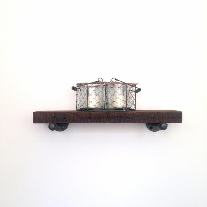18''-60'' Walnut Dormer Wall Shelf - Reclaimed Wood Shelf - Reclaimed Wood & Pipe Wall Shelf by arcandtimber