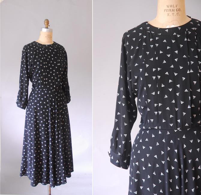 novelty swing dress, long black dress, plus size dresses, 1980 retro dress,  1940s by ErstwhileStyle