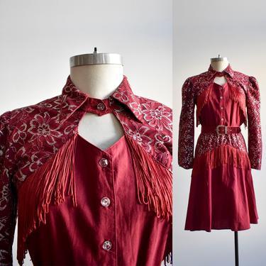 Vintage 1980s Western Tassel Dress Medium by milkandice