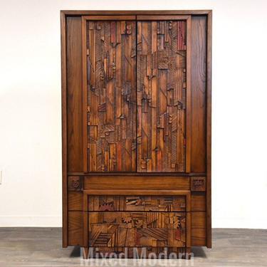 Brutalist Tall Armoire Dresser by Lane by mixedmodern1