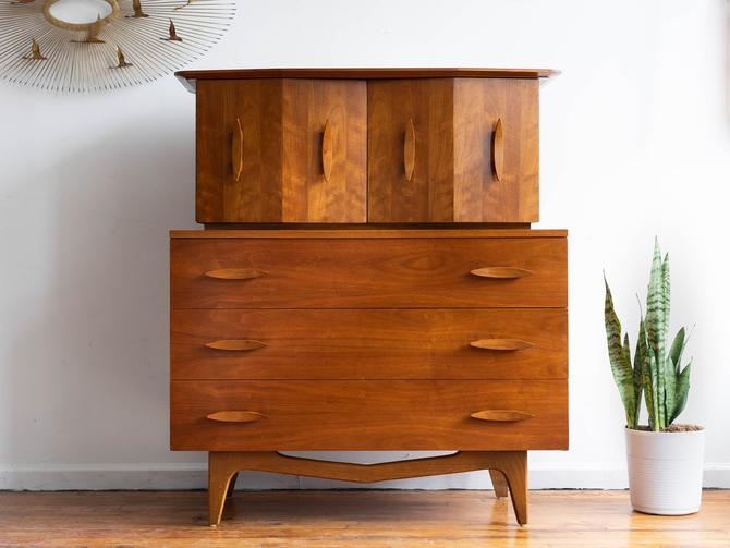 Vintage MCM Walnut Tall Dresser / Gentleman's Chest / Highboy by American of Martinsville by blinkmodern