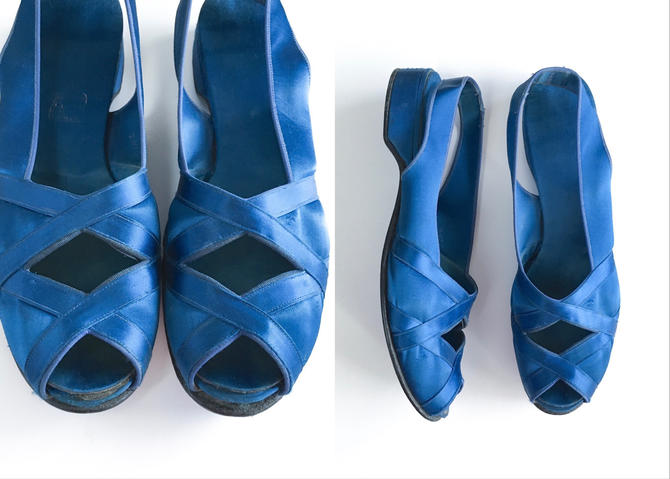 1940s 50s Daniel Green Blue Satin Crisscross Honeymoon Slippers 7AA by hemlockvintage