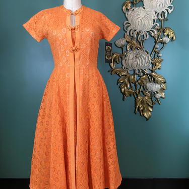 1950s dress, spiderweb lace dress, vintage 50s dress, R & k original, orange lace dress, mrs maisel style, small medium, full skirt dress by BlackLabelVintageWA